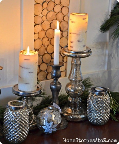 pb inspired beaded birch candles