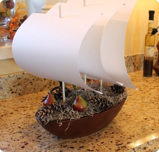 Thanksgiving boat centerpiece