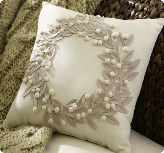 pottery barn jeweled wreath embroidered pillow