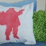 santa faux grain sack pillow