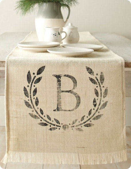 Monogrammed Burlap Table Runner Knockoffdecor Com