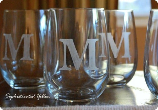 diy monogrammed glasses