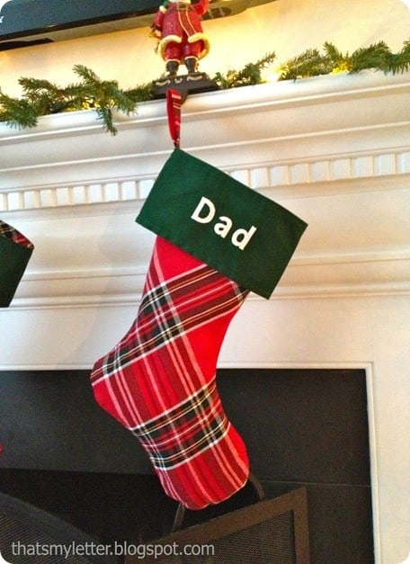 diy plaid christmas stocking