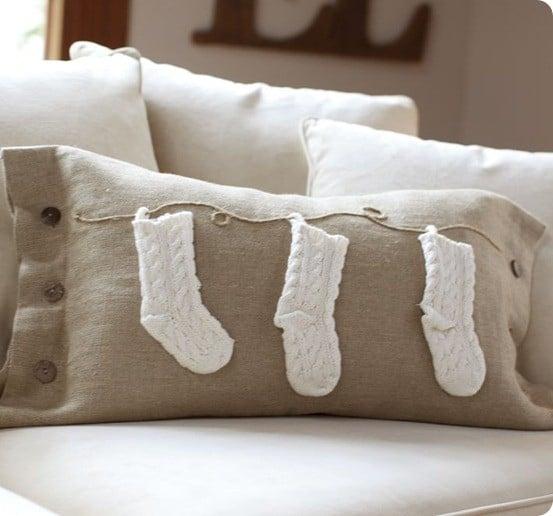 knit stocking lumbar pillow cover