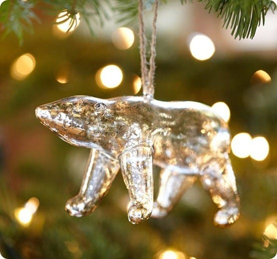 mercury glass polar bear ornament from pottery barn