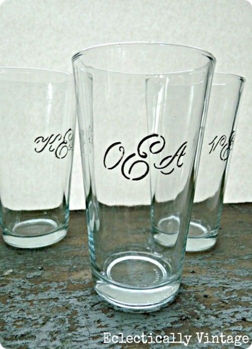 mongrammed drinking glasses