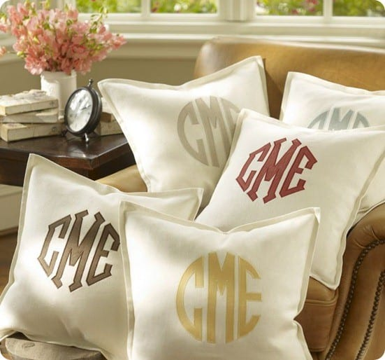 pb monogram applique pillow cover