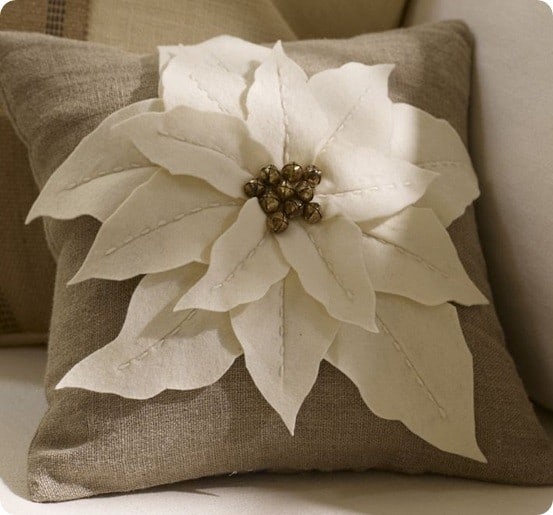 poinsettia decorative pillow