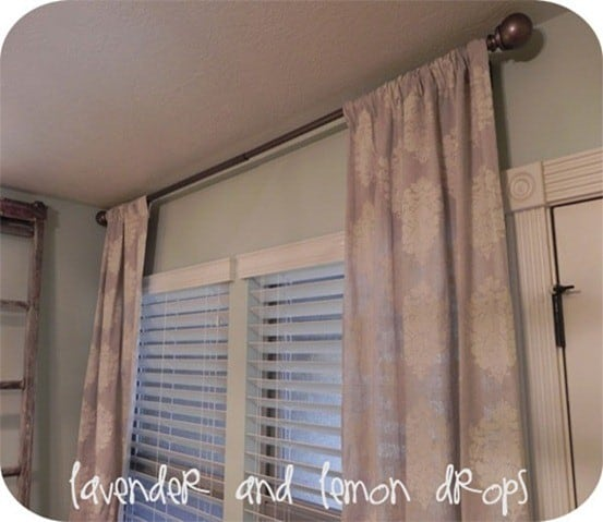 Stenciled Drop Cloth Curtains | Knock off West Elm curtains with drop cloth, paint, and a stencil!