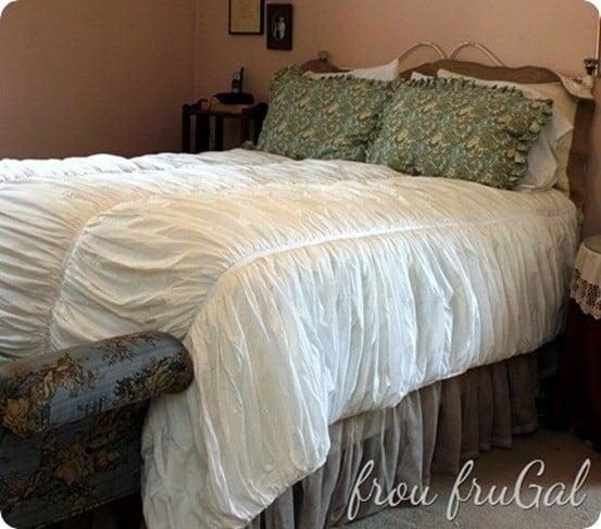 white ruffled quilt