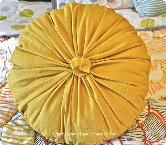 Sewing Tutorial ~ How to Make an Anthropologie Knock Off Round Rosette Pillow
