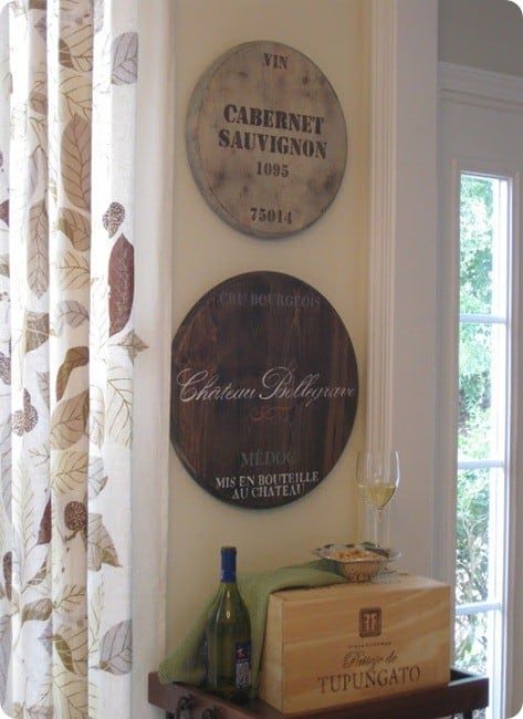 DIY Wall Decor ~ Ballard Designs Knock Off Wine Barrel Plaques