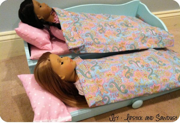 Finished trundle doll bed