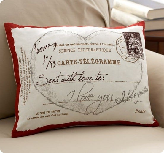love postcard boudoir pillow cover