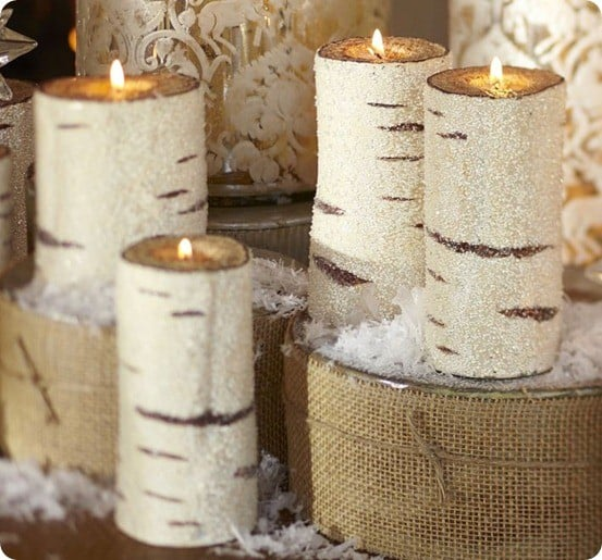 pottery barn beaded birch pillar candles