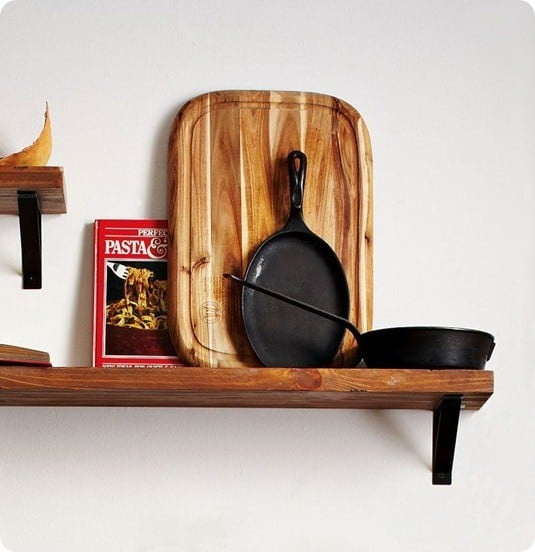 reclaimed wood shelf and black basic bracket from west elm