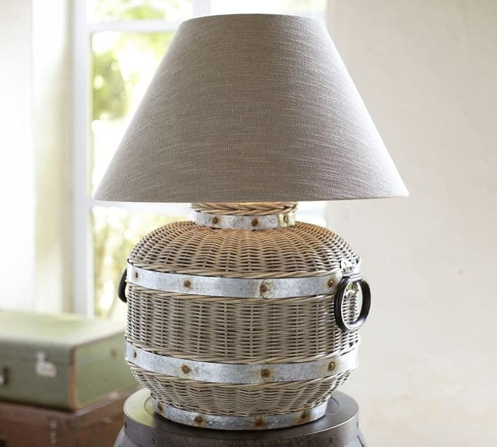 Jute And Metal Lamp Base