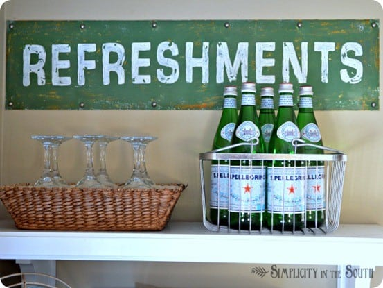 DIY Wall Decor ~ This reversible kitchen sign was made from an old kick plate! I love a good repurpose! {Pottery Barn knock off}