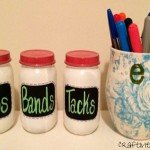 chalkboard jars office storage