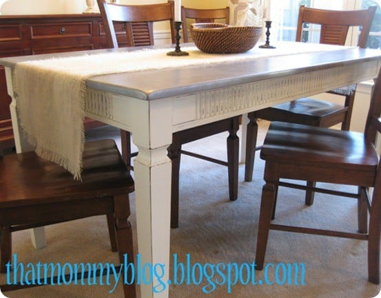 Painted Furniture ~ See how this wood dining table was given the look of zinc with paint!