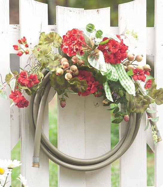 Garden Hose Seasonal Wreath Accent With Flowers, Berries And Gingham Bow