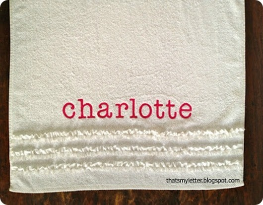 Pottery Barn Knock Off Personalized Ruffle Towel ~ Jazz up a plain towel by adding a ruffle made from bias tape and a DIY applique!