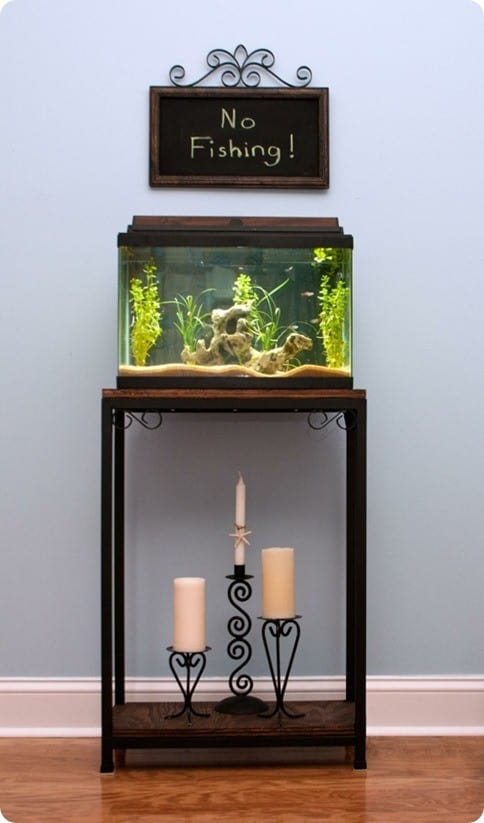 Wooden Iron Stand Designs : Wood and metal aquarium stand knockoffdecor