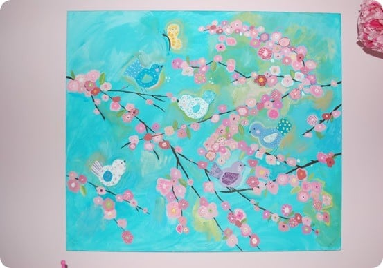 birds and branches wall canvas inspired by pottery barn kids