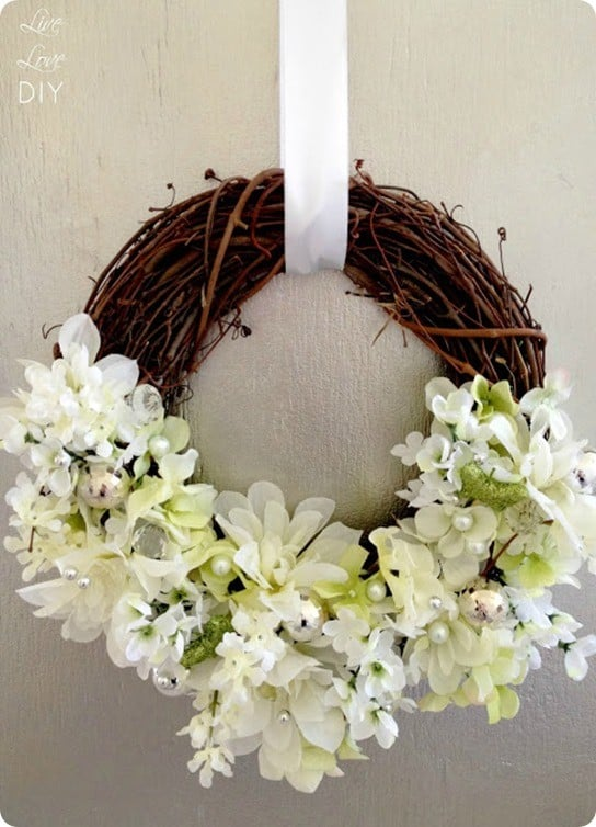 diy grapevine wreath with flowers inspired by horchow