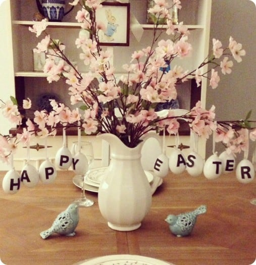 easter egg branches centerpiece inspired by pottery barn