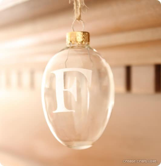 etched glass monogrammed ornament