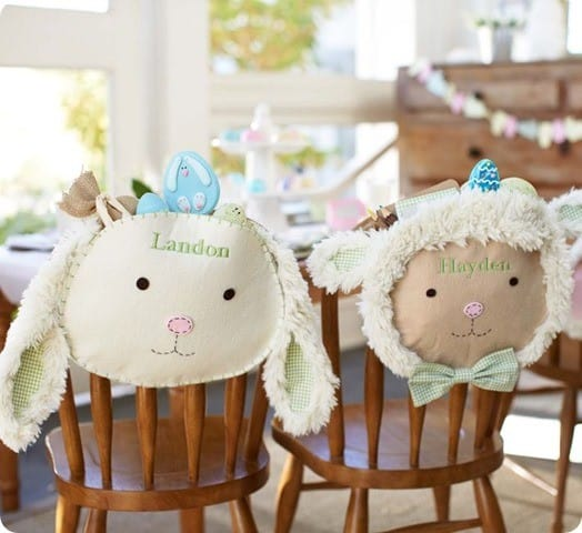 gingham lamb and bunny chair backers