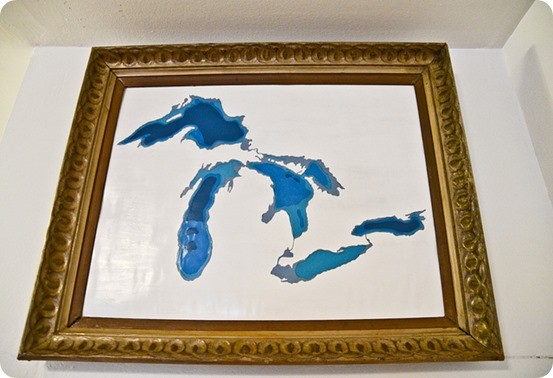 great lakes topography map wall art
