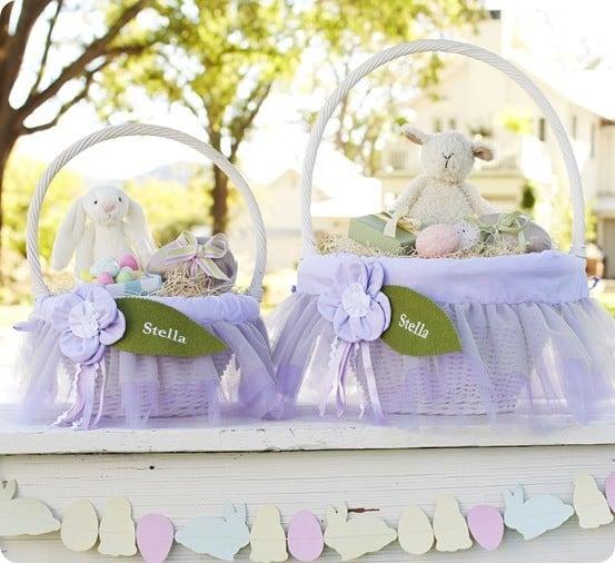 lavendar fairy easter basket liners