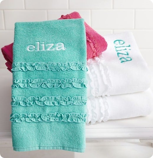 pb teen ruffle towel