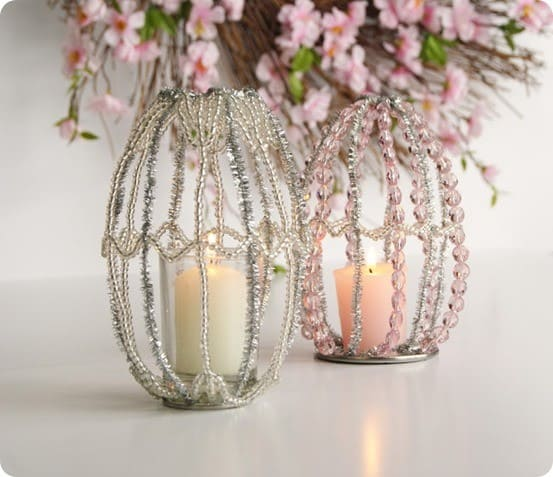 pottery barn inspired beaded easter candle holders