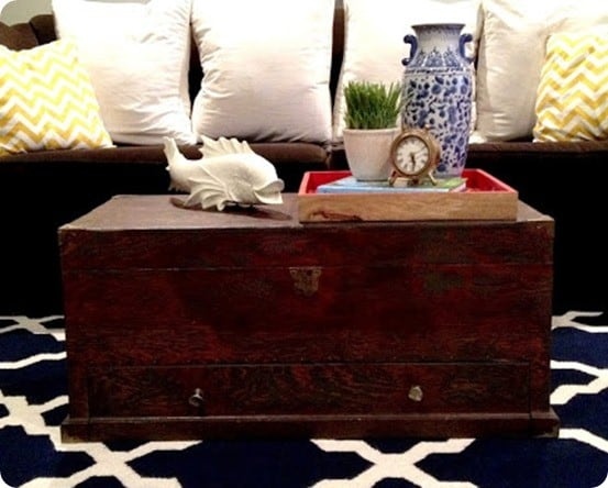 refinished tool chest to trunk coffee table