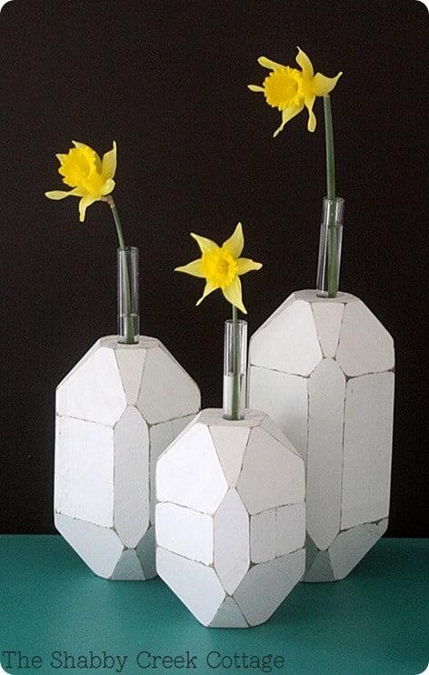 Facet test tube vases for Test tube flower vase rack
