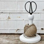Wooden Twine and Scissors Holder