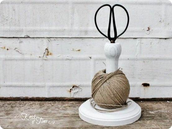 Twine and Scissors Holder ~ This is the cutest way to store scissors and twine in the craft room. Would you believe it was made from an old chair leg?
