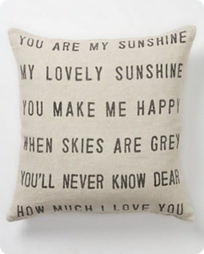 anthro you are my sunshine pillow
