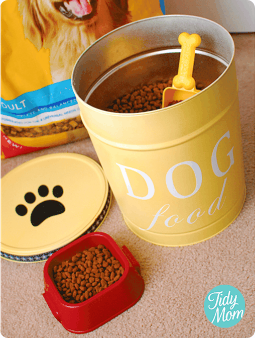 Ballard Knock Off Dog Food Canister ~ Repurpose a popcorn tin into a storage container for your pets' food!