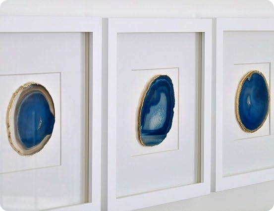 Framed Agate Slice DIY Wall Art ~ What an awesome idea to make framed agate art using inexpensive coasters!
