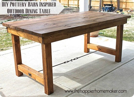 Pottery Barn Inspired Outdoor Dining Table ~ It only cost $100 and took one afternoon to build this DIY outdoor table! Now, who's ready for a BBQ?