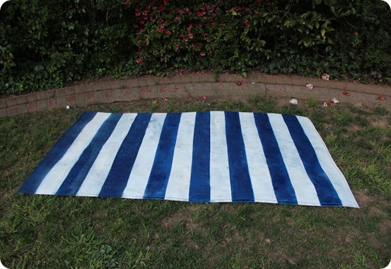 diy painted stripe outdoor rug