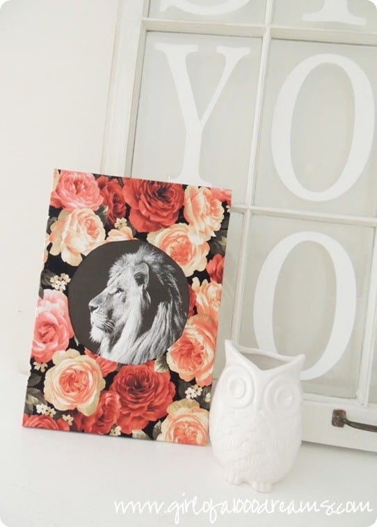 floral lion diy wall art