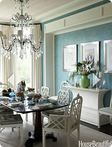 house beautiful blue and white dining room