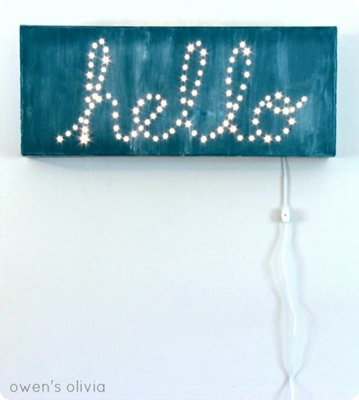 lighted hello sign inspired by rh baby and child