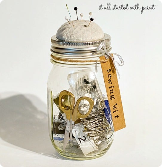 Anthropologie Knock Off Mason Jar Sewing Kit ~ This would make a great gift! So cute!