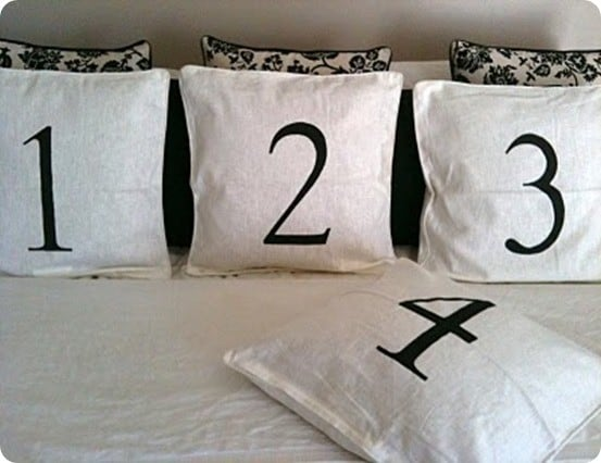 Pottery Barn Knock Off Number Pillows ~ These DIY pillows were made in just an hour using ready-made covers from Ikea.